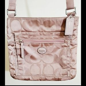 Coach Pink/Beige Nylon Messenger/Crossbody…